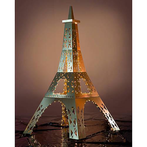 Tour Eiffel 12 ft (environ 3.66 m) Métallique Lumière De Fond En Carton Découpé Voyageur debout