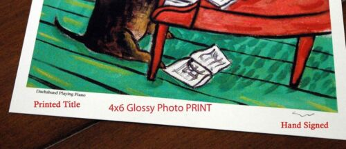 Bulldog Surfing 4x6 glossy  dog art print gift gifts prints