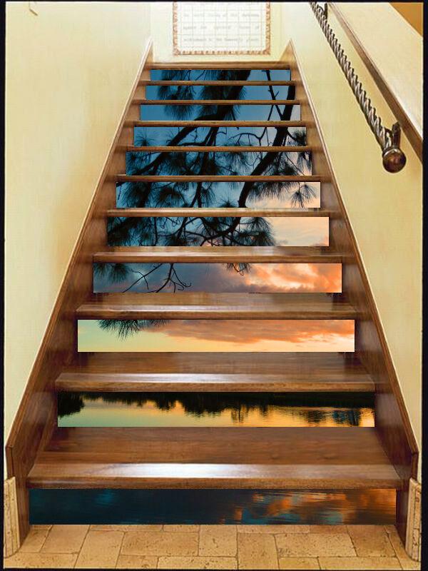 3D Lake Sunset 91 Stair Risers Decoration Photo Mural Vinyl Decal WandPapier UK