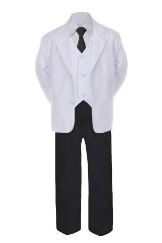5-7pc Formal Black White Suit Royal Blue Bow Tie Neck Vest Boy Baby Sm-20 Teen