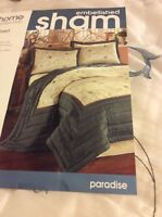 Jcpenney Home Embellished Beaded Pillow Shams Paradise Standard Blue Ivory 2