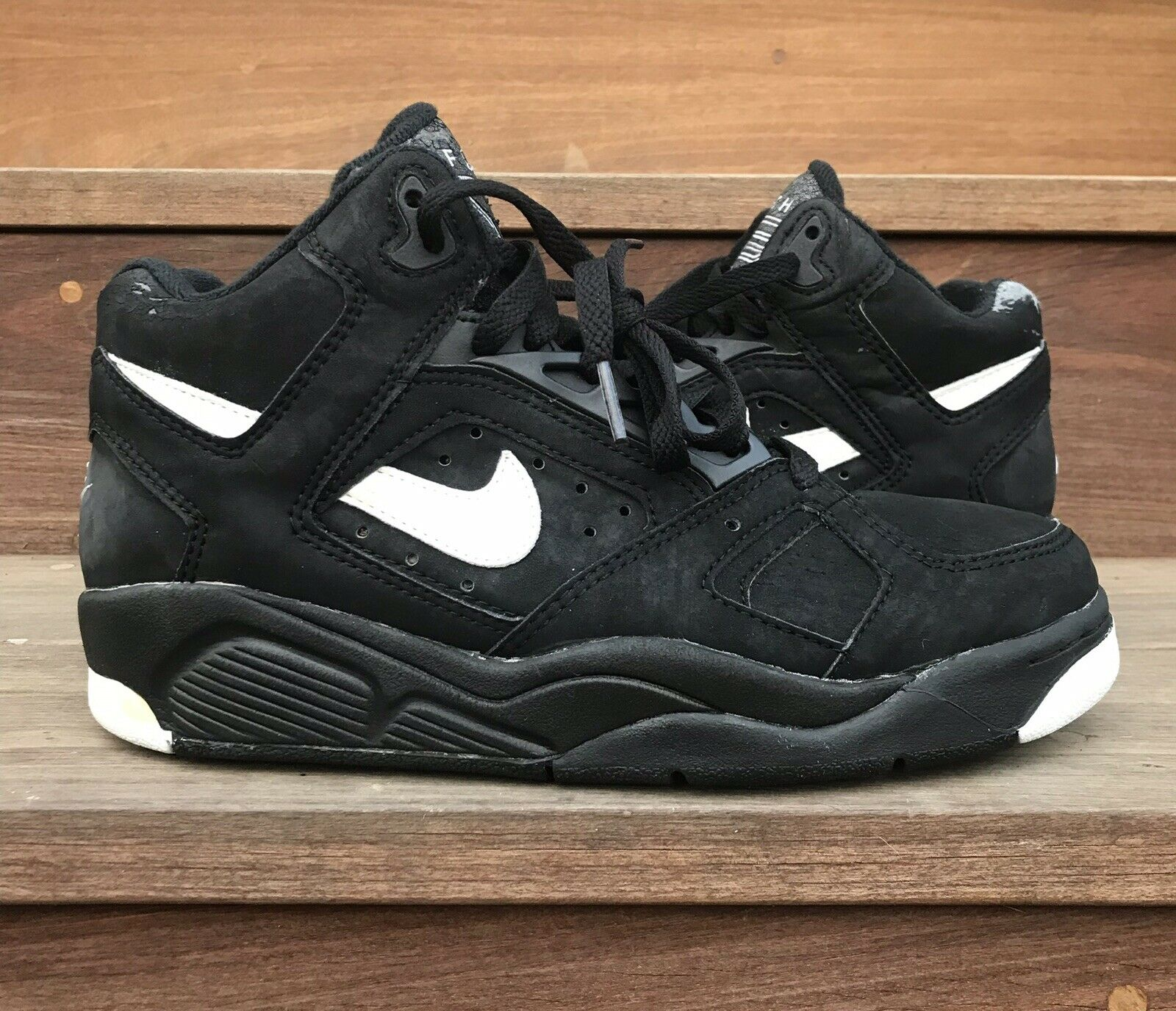 Vintage Nike Flight Lite Low OG Sz 8.5 Black White 1990 Original 1991 Basketball