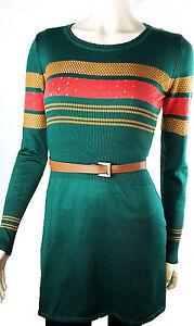Kleid-Tunika-Feinstrick-Minikleid-Damenstrick-Gestreift-Gruen-Ajour-36-38-40