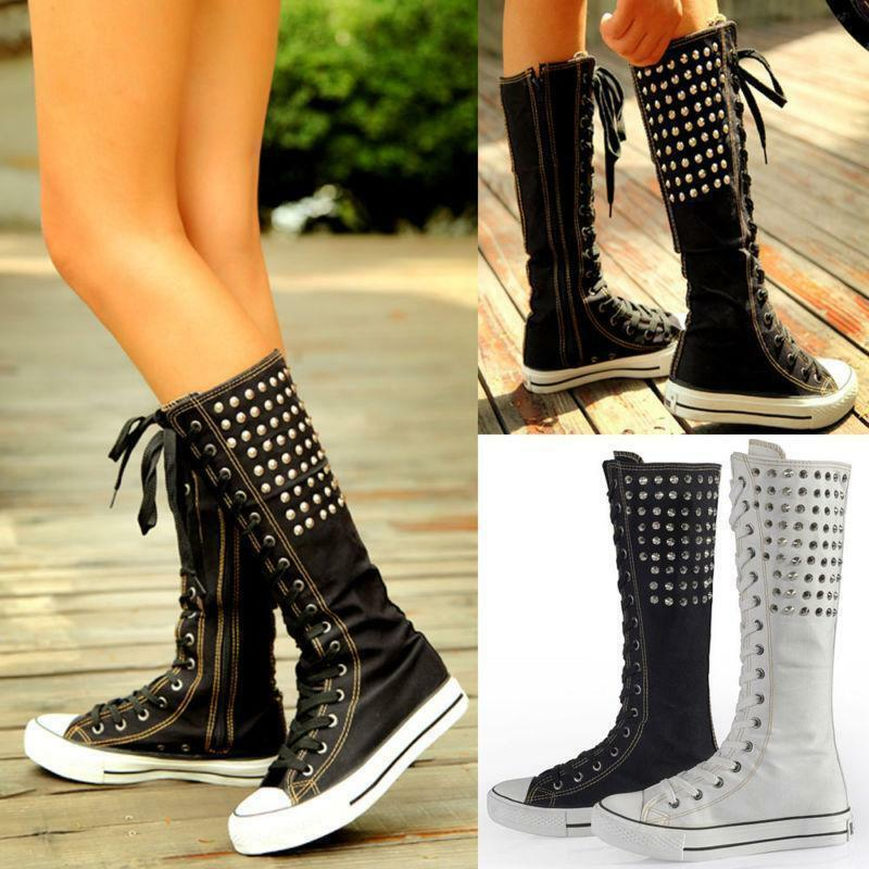 Women PUNK Gothic Rivets Canvas Boots Sneakers Knee High Lace Up Zip shoes SY01
