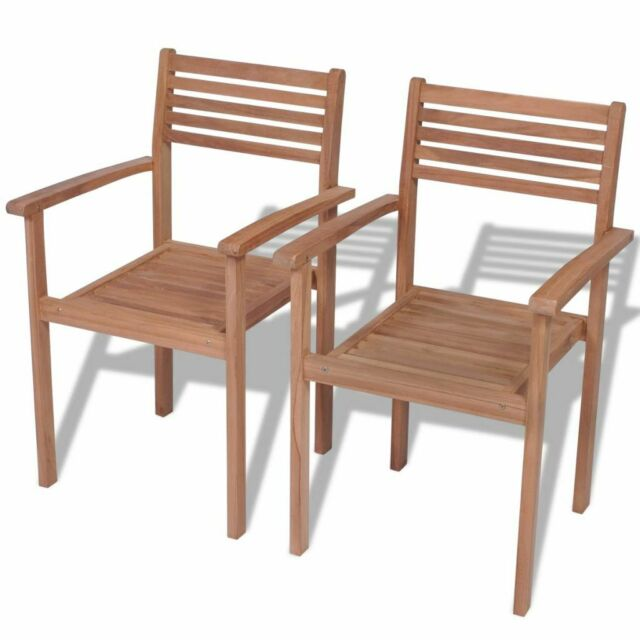 Vidaxl 2x Teak Outdoor Stackable Chairs Patio Dining Stacking Seats Furniture For Online Ebay