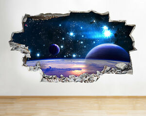 I243 Escena del espacio Planeta Azul E pegatina pared vinilo 3d habitación niños