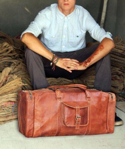 "25/""Men/'s Vintage Brown Genuine Leather Goat hide Travel Duffle Luggage Gym Bag"