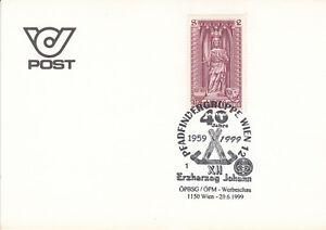 Österreich Briefmarken auf Karte 1999 Mi.1285 Stempel Pfadfindergruppe Wien - Forst (Lausitz), Deutschland - Österreich Briefmarken auf Karte 1999 Mi.1285 Stempel Pfadfindergruppe Wien - Forst (Lausitz), Deutschland