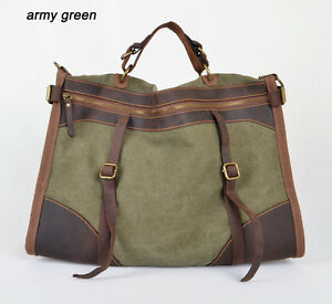Details About Fashion Men Women Military Canvas Leather Duffle Bag Tote Travel Luggage