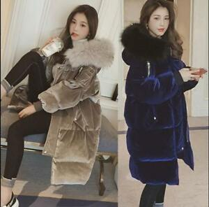 vrac coton en long à mi femmes long velours en pour Parka en capuche Manteau Épais xYnvHXH
