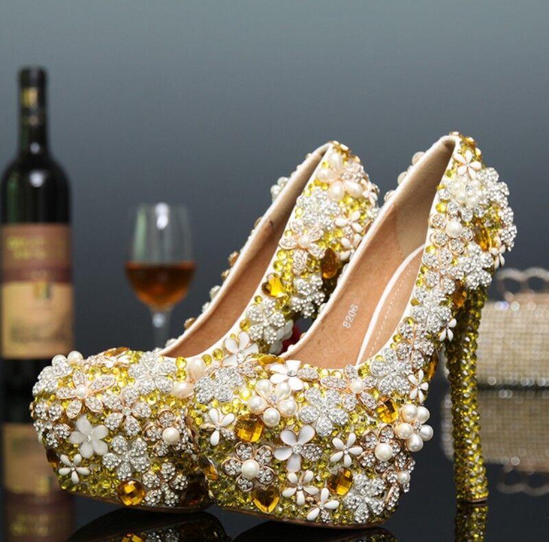 New Donna Luxury Rhinestone Wedding Bridal Glitter Shoes High Heel Party Vogue