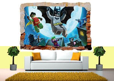 Lego Batman Marvel Avengers Mural 3d Smashed Wall View Sticker Poster Vinyl 34