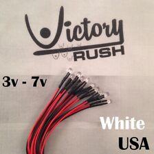 10x 5mm White Flat Top Pre Wired Leds Wide Angle Light 3v 5v 7v Usa