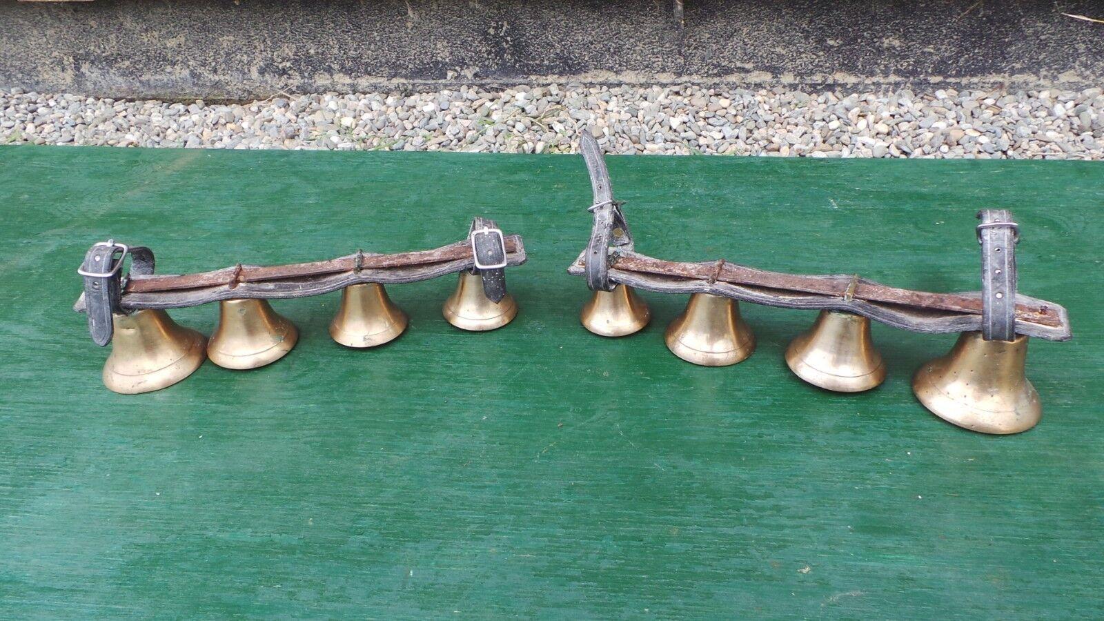 Raro Antiguo 2 conjuntos de Latón Caballo Bell 4 campanas en la correa de cuero para Eje de trineo