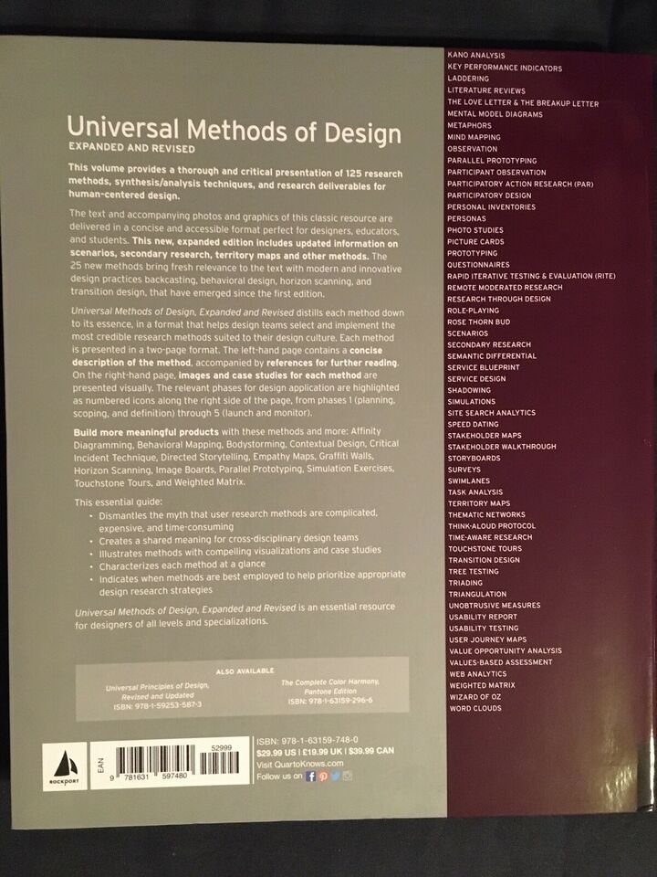 Universal Methods of Design, Martin & Hannington, år 2019