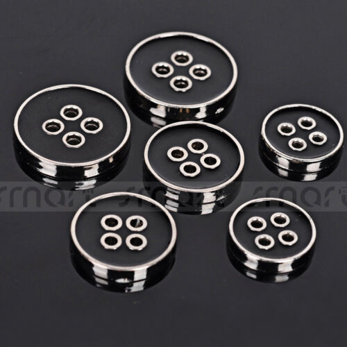 20PCS Black Environment Overcoat 4-Hole Flat Button Sewing Craft Decoration