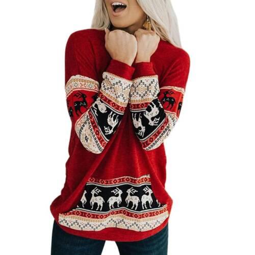 Ladies Xmas Santa Flared Top Sweatshirt Jumper Pullover Loose T Shirts Plus Size