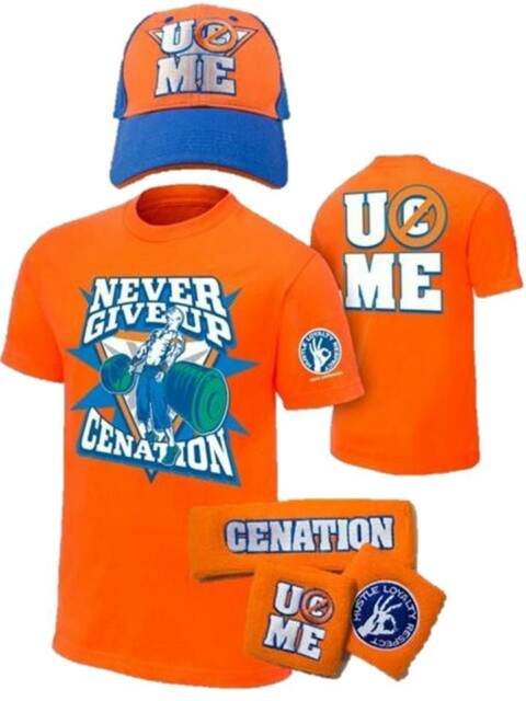 john cena kids orange costume hat t shirt wristbands boys ys ebay
