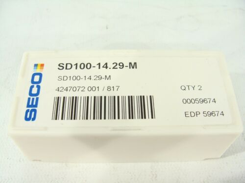 """2pc New SECO SD100-14.29-M 14.29mm 0.5626/"""" Replaceable Carbide Drill Tip Insert"""