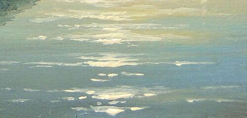 "201-5/""x7/"" CANVAS GICLEE ART PRINT Crimea Ayu Dog Moonlit Night by Mesheryakov"