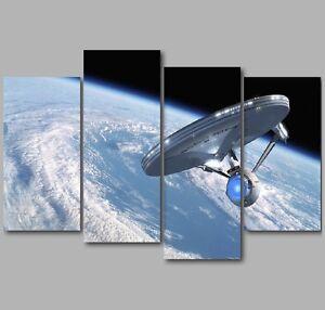 Xl Star Trek Starship Enterprise 4 Panel Split Canvas Picture Wall Art Ebay