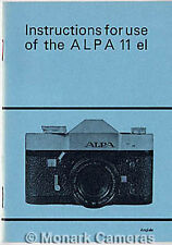Alpa 11el Camera Instruction Book from 1973, More Manuals & Guides Listed