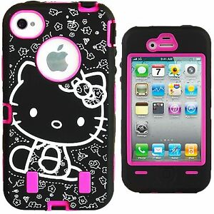 Hello-Kitty-Hybrid-Case-for-iPhone-4-4G-4S-Hot-Pink-High-Impact-Cute-Bow-Cover