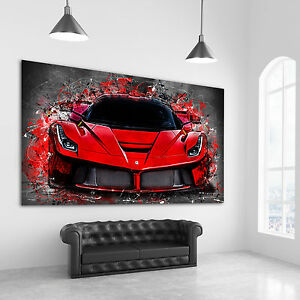 leinwand bild ferrari laferrari auto abstrakt kunstdruck wandbilder leinwand ebay. Black Bedroom Furniture Sets. Home Design Ideas