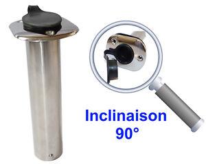 Porte Canne Angle 90° à Encastrer inox 316 avec Protection