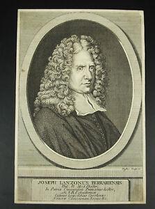 Alerte Joseph Lanzonus Ferrariensis Duflos Sc Italie Physicien Philosophe Ferrara C1730