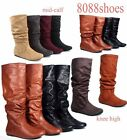 Soda Women's Flat Heel Slouchy Mid-Calf Knee High Boot Shoes Size 5.5 -11 NEW