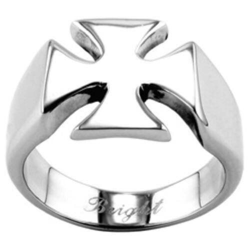 Sizes 9-15 Men/'s Shiny Stainless Steel Biker Iron Cross Ring