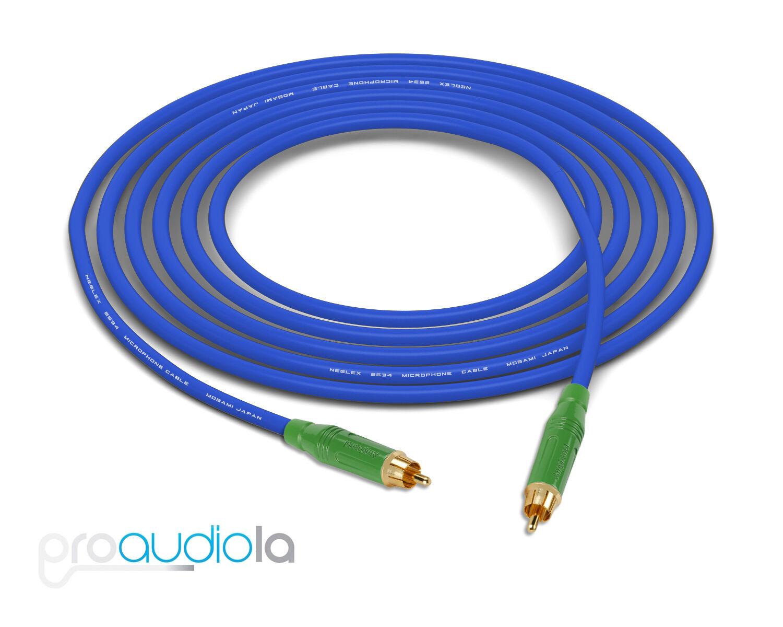 Cable de cuatro Mogami 2534   verde Amphenol Amphenol Amphenol Rca A Rca   Azul 35 pies 35 pies. 35' 421398