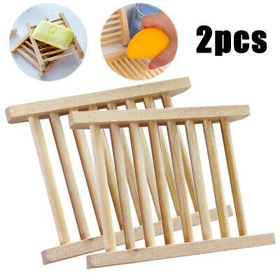 2pcs Holz Seifenschale Seifenablage Bambus Seifenhalter Bad Dusche Halterung DE*
