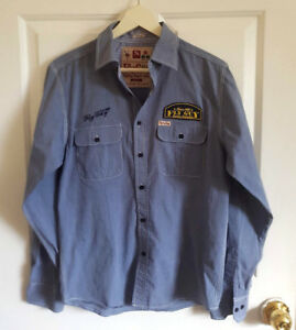 FLY-GUY-SHIRT-Size-Small-Chest-37-034-Americana-Patches-Denim-Look-Blue-Retro-Slim