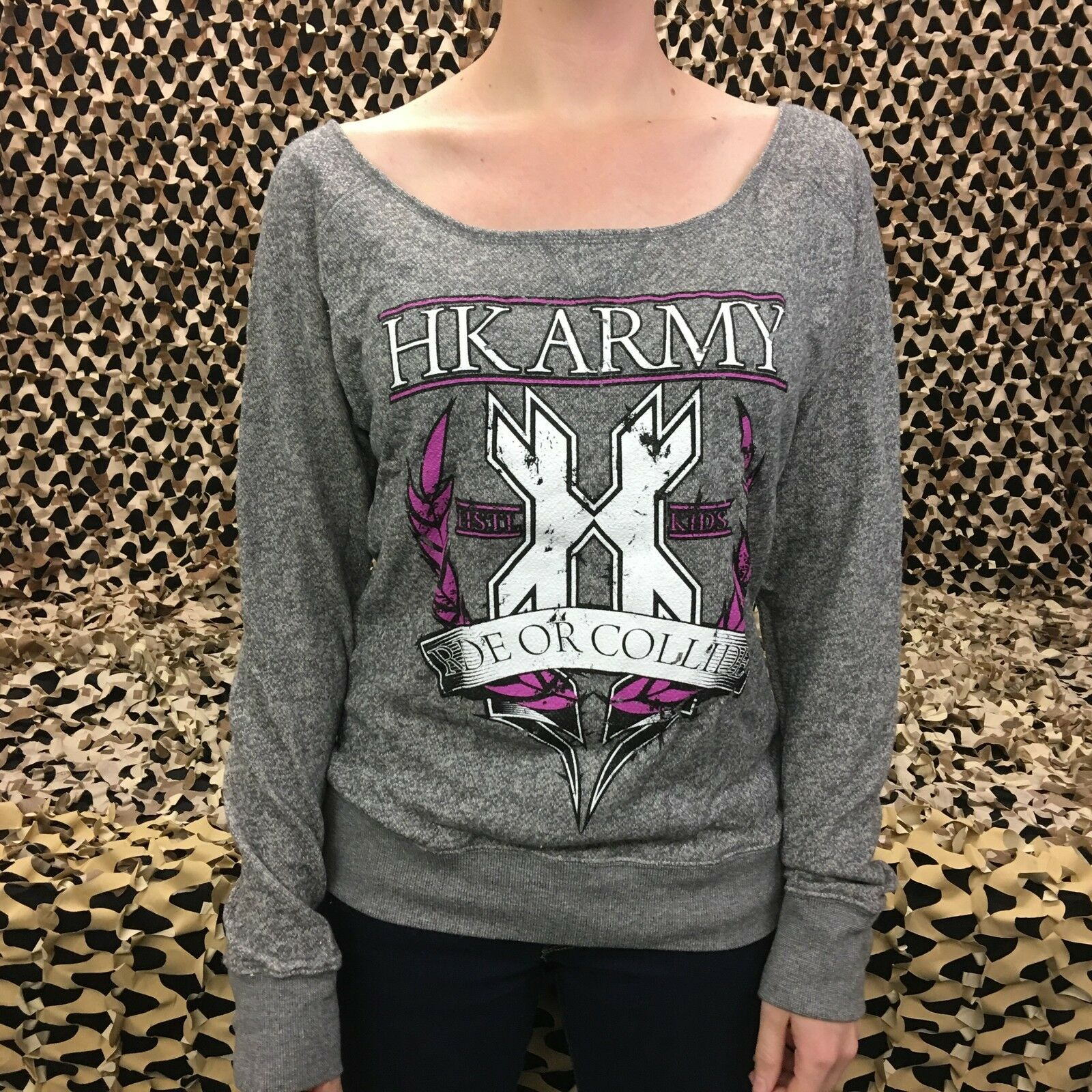 NEW HK Army Crest Girl's Sweater - Grey