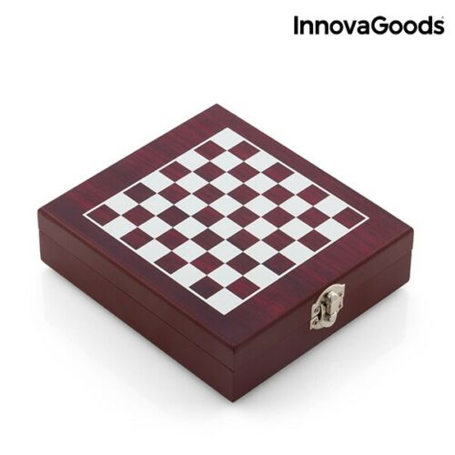estuche Set de vino y juego de ajedrez 37 piezas madera y acero inoxidable