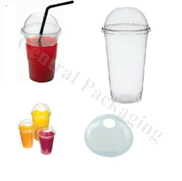 SMOOTHIE CUPS & DOMED LIDS Clear Plastic party cup milkshake juice slush