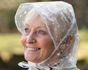 Rain & Wind Peak Bonnet/Hat Clear Plastic Polka Dot x2 Different Colours
