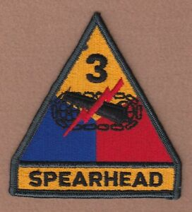 AG border Army Patch: 1st Armored Division w//tab 1 piece cut edge