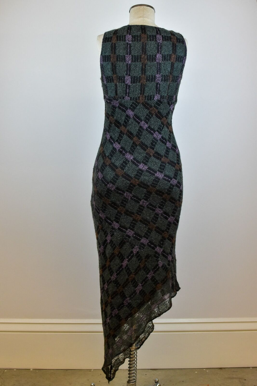 1990's Vintage Anna Sui Checkered Mohair Dress - image 7