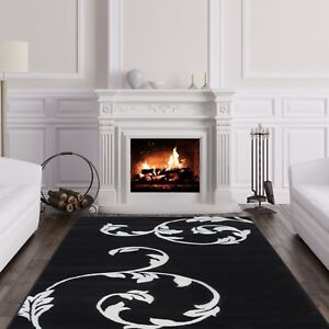 Details About Black White Fl Rug Contemporary Easy Living Small Large Rugs For House Uk