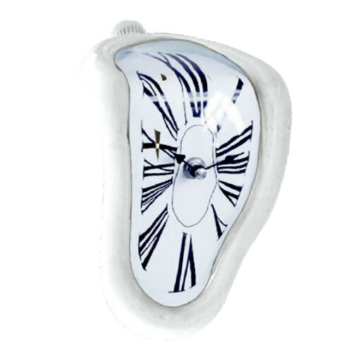 Melting Time Warp Book Shelf Clock Home Office Conversation Piece Gift White