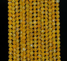 """4MM  AGATE GEMSTONE AMBER  YELLOW FACETED ROUND LOOSE BEADS 15"""""""