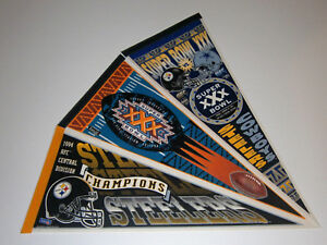 3-1990s-Pittsburgh-Steelers-Super-Bowl-pennants-lot-SB-30-Kevin-Greene-Woodson