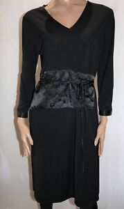 BASQUE-Brand-Black-Long-Sleeve-Floral-Wrap-Style-Shift-Dress-Size-16-BNWT-LIN