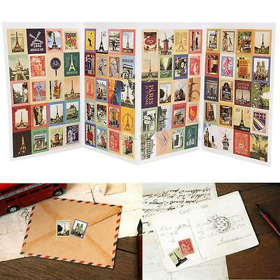 4 Sheets 80 Pcs Paper Scrapbooking Card Stamp Stickers Label Decoration Craft
