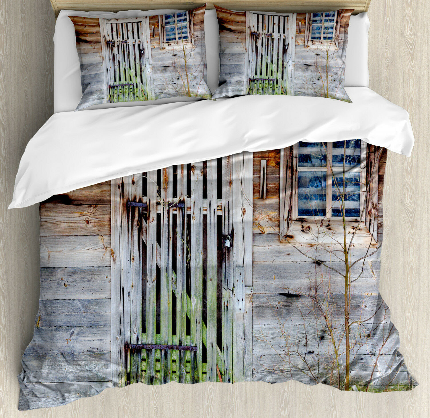 Primitive Country Duvet Cover Set with Pillow Shams Old Farmhouse Print