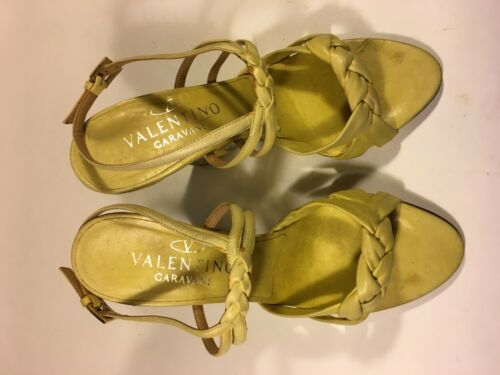 Valentino Yellow 24 Crystal With Woven Striped Detail Leather Wedge Heel agqw4aH