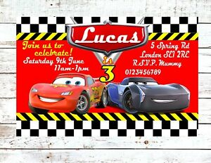 Image Is Loading Lightning McQueen Party Invitations Personalised Birthday Invites X10